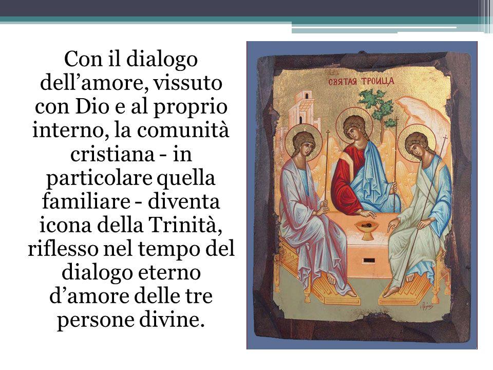 Con il dialogo dell'amore, vissuto con Dio e al proprio interno, la comunità cristiana - in particolare quella familiare - diventa icona della Trinità, riflesso nel tempo del dialogo eterno d'amore delle tre persone divine.