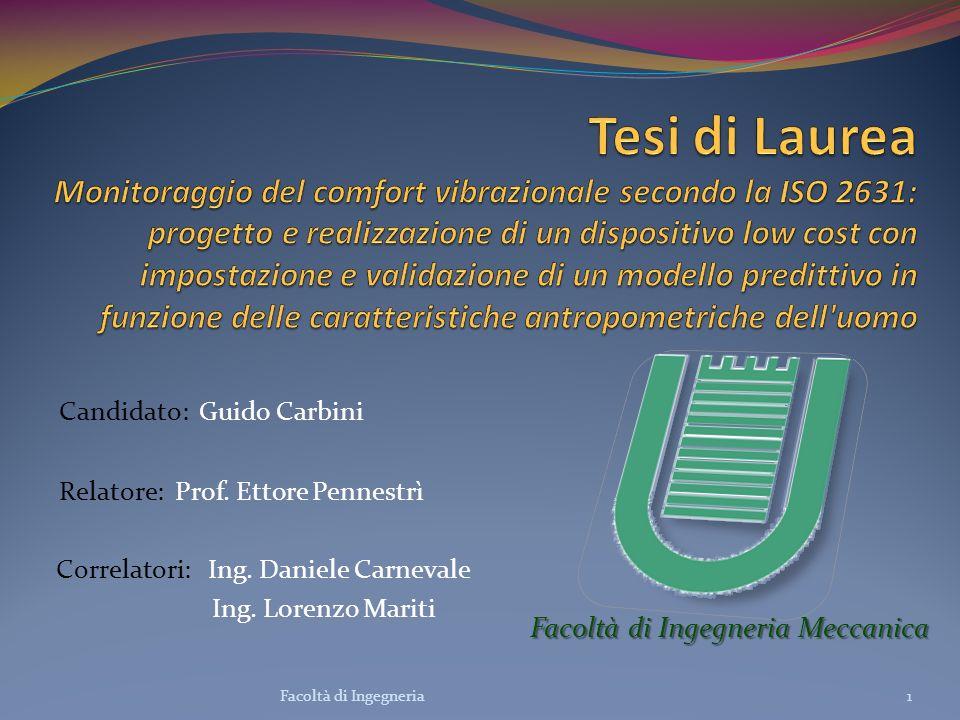 Tesi di Laurea Monitoraggio del comfort vibrazionale secondo la ISO 2631: progetto e realizzazione di un dispositivo low cost con impostazione e validazione di un modello predittivo in funzione delle caratteristiche antropometriche dell uomo