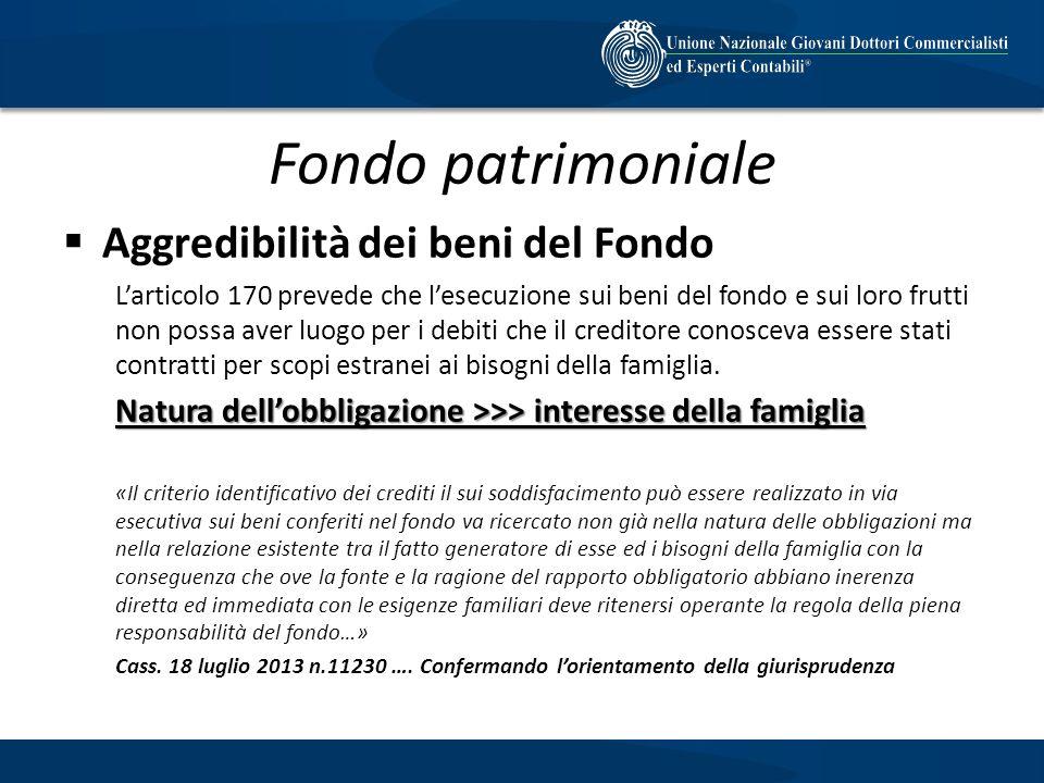 Fondo patrimoniale Aggredibilità dei beni del Fondo