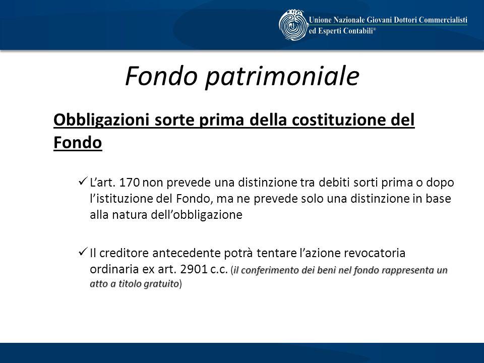 Fondo patrimoniale Obbligazioni sorte prima della costituzione del Fondo.