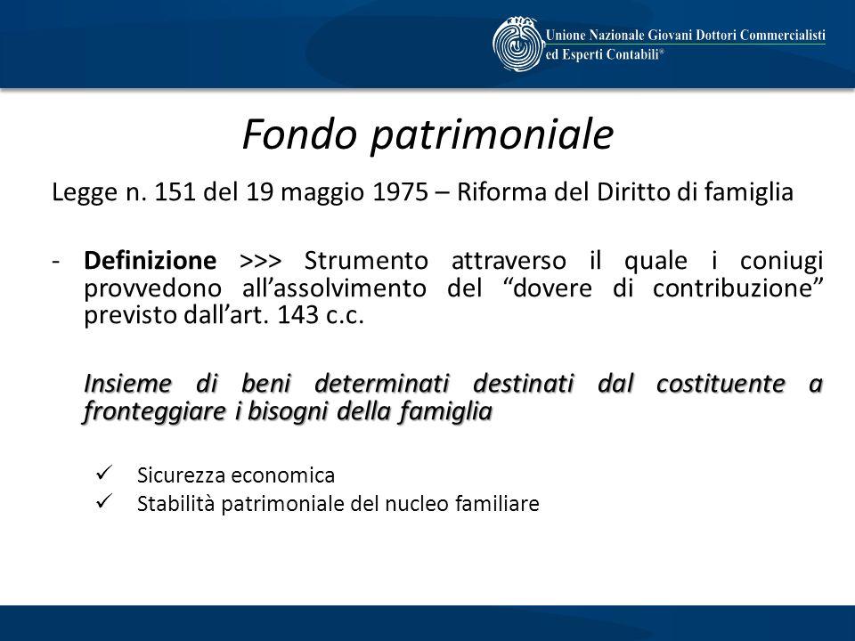 Fondo patrimoniale Legge n. 151 del 19 maggio 1975 – Riforma del Diritto di famiglia.