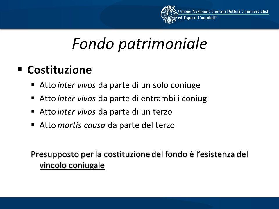 Fondo patrimoniale Costituzione