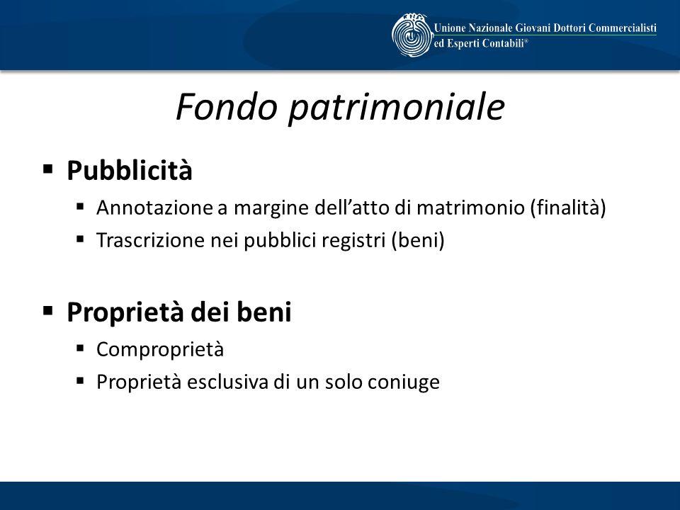 Fondo patrimoniale Pubblicità Proprietà dei beni