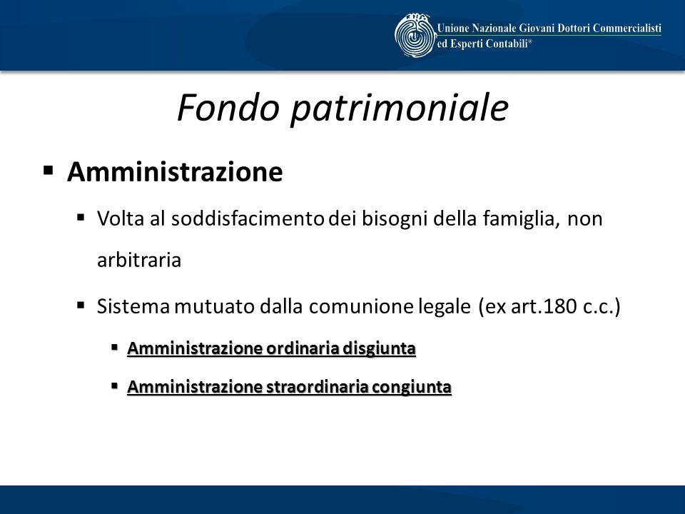 Fondo patrimoniale Amministrazione