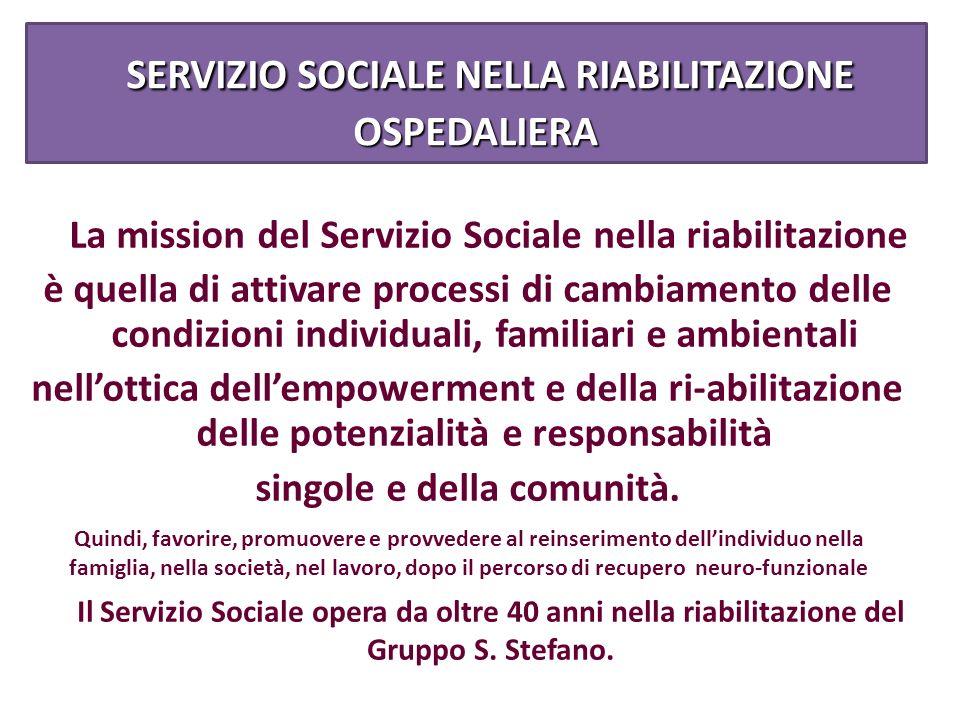 SERVIZIO SOCIALE NELLA RIABILITAZIONE OSPEDALIERA
