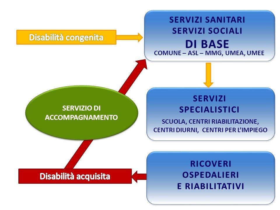 DI BASE SERVIZI SANITARI SERVIZI SOCIALI Disabilità congenita SERVIZI