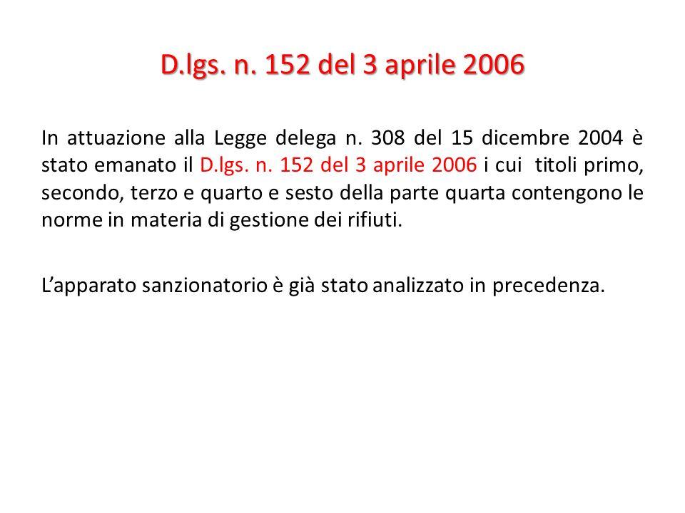 D.lgs. n. 152 del 3 aprile 2006