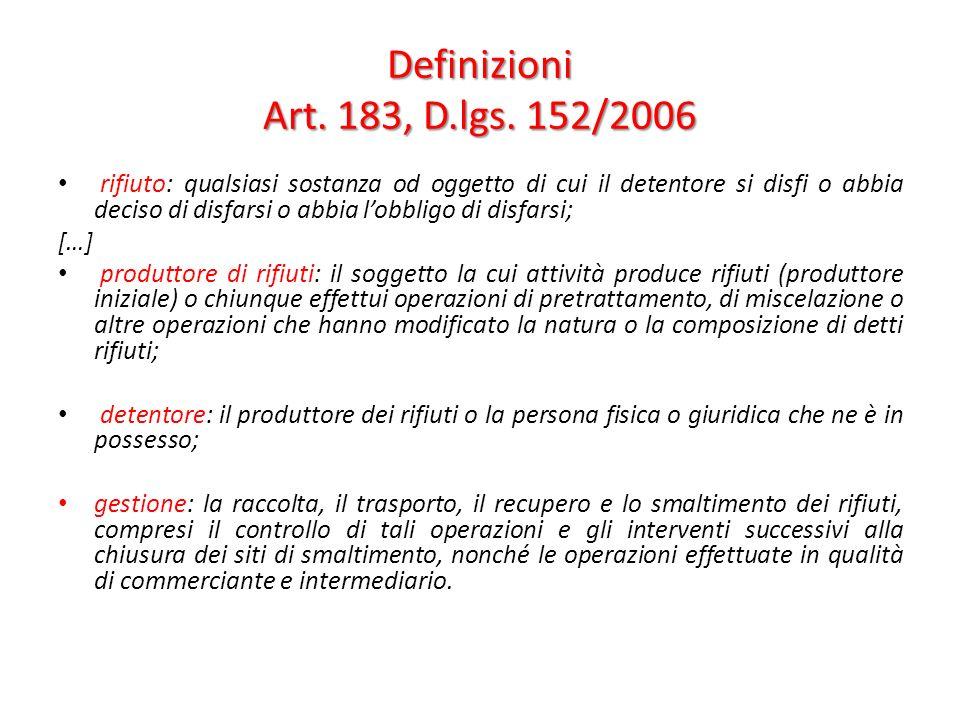 Definizioni Art. 183, D.lgs. 152/2006