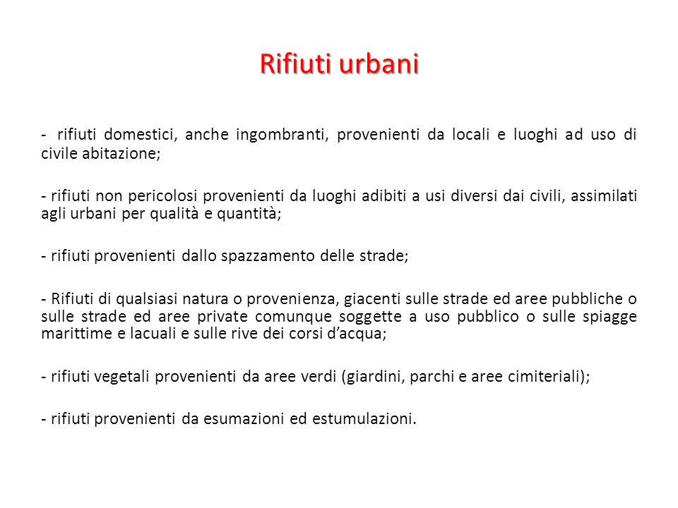 Rifiuti urbani - rifiuti domestici, anche ingombranti, provenienti da locali e luoghi ad uso di civile abitazione;