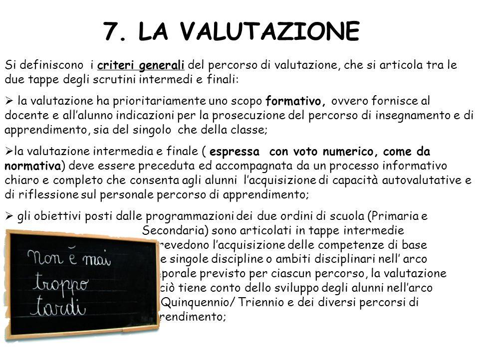7. LA VALUTAZIONE