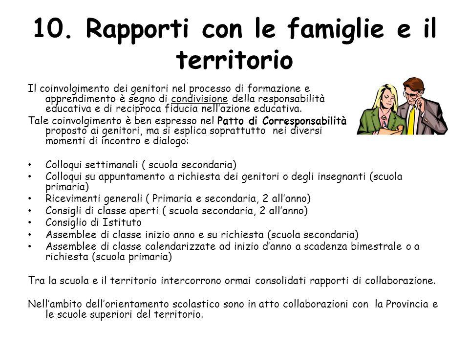 10. Rapporti con le famiglie e il territorio