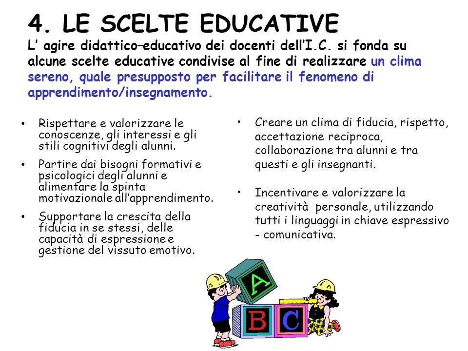 4. LE SCELTE EDUCATIVE L' agire didattico–educativo dei docenti dell'I