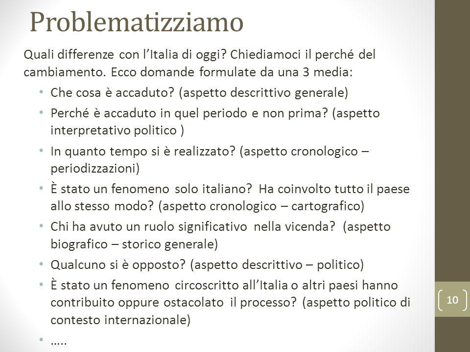 Problematizziamo Quali differenze con l'Italia di oggi Chiediamoci il perché del cambiamento. Ecco domande formulate da una 3 media: