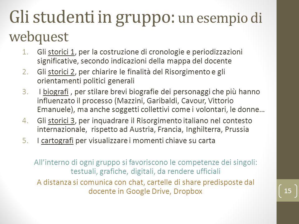 Gli studenti in gruppo: un esempio di webquest