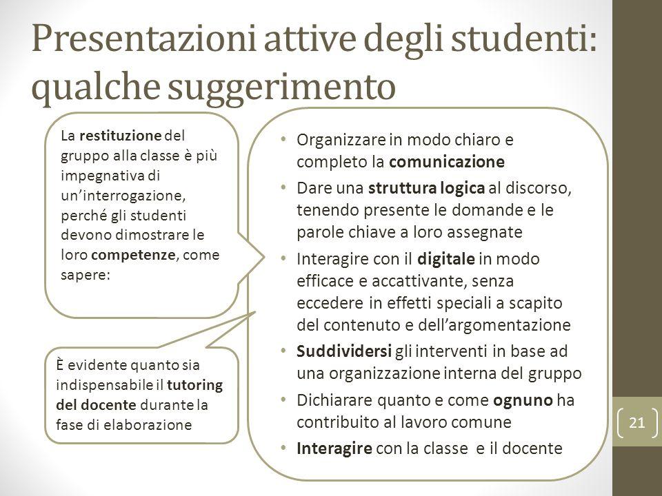 Presentazioni attive degli studenti: qualche suggerimento