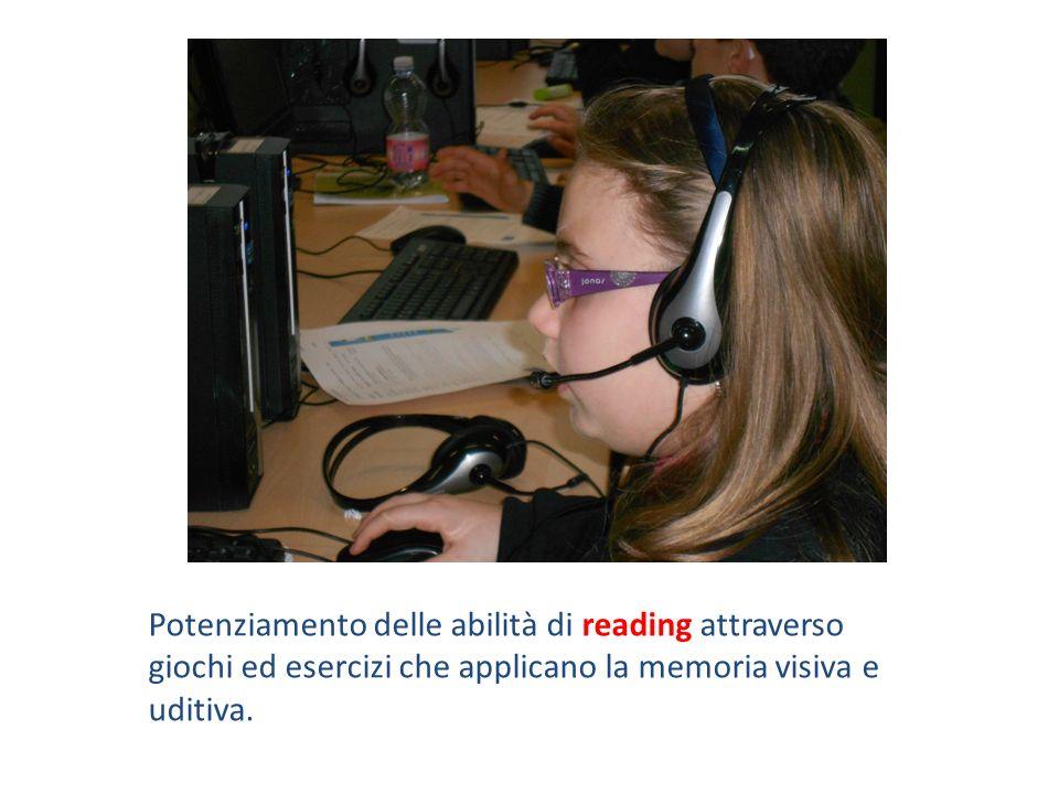 Potenziamento delle abilità di reading attraverso giochi ed esercizi che applicano la memoria visiva e uditiva.