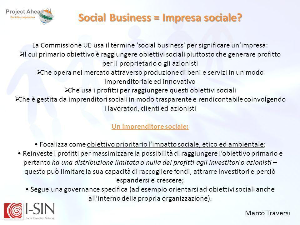 Social Business = Impresa sociale Un imprenditore sociale:
