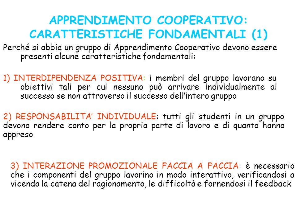 APPRENDIMENTO COOPERATIVO: CARATTERISTICHE FONDAMENTALI (1)