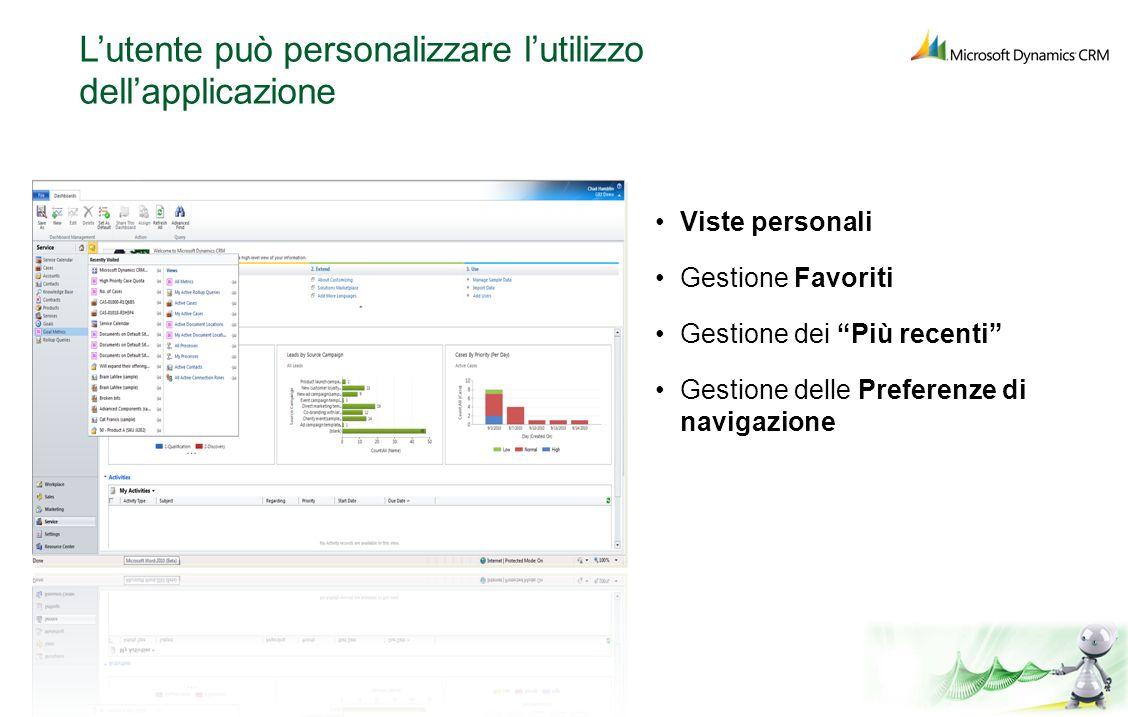 L'utente può personalizzare l'utilizzo dell'applicazione