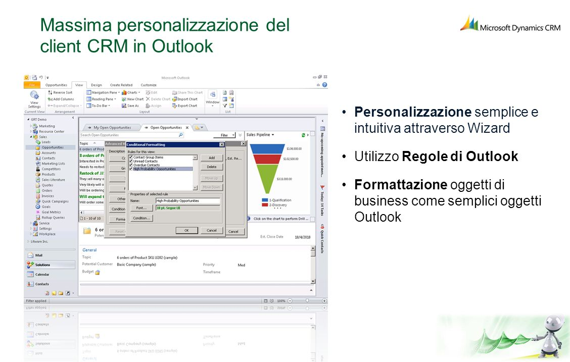 Massima personalizzazione del client CRM in Outlook
