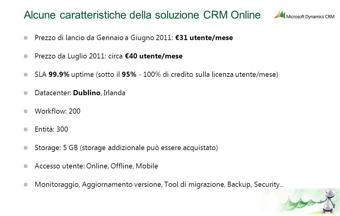 Alcune caratteristiche della soluzione CRM Online
