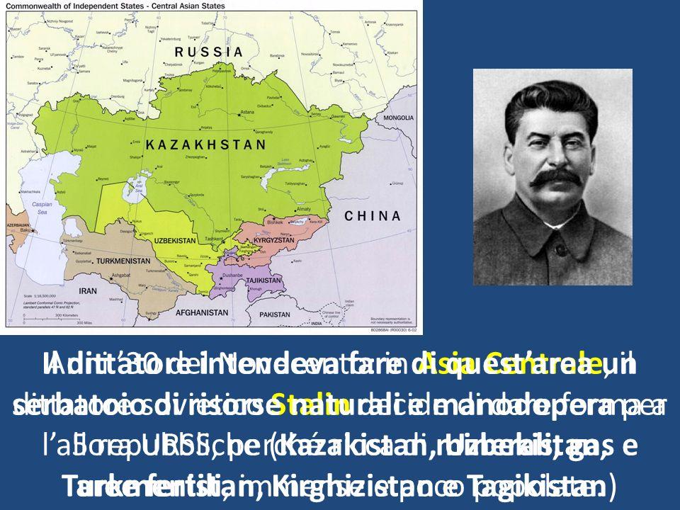 Il dittatore intendeva fare di quest'area un serbatoio di risorse naturali e manodopera per l'allora URSS, perché ricca di minerali, gas e aree fertili, immense e poco popolate.