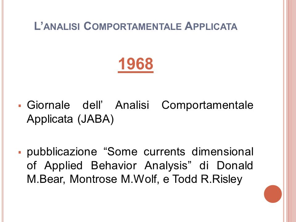 L'analisi Comportamentale Applicata