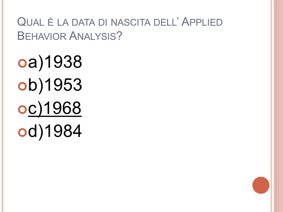 Qual è la data di nascita dell' Applied Behavior Analysis