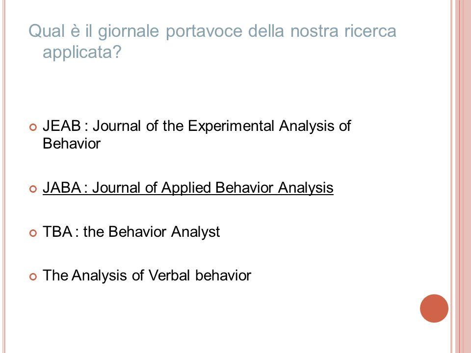 Qual è il giornale portavoce della nostra ricerca applicata