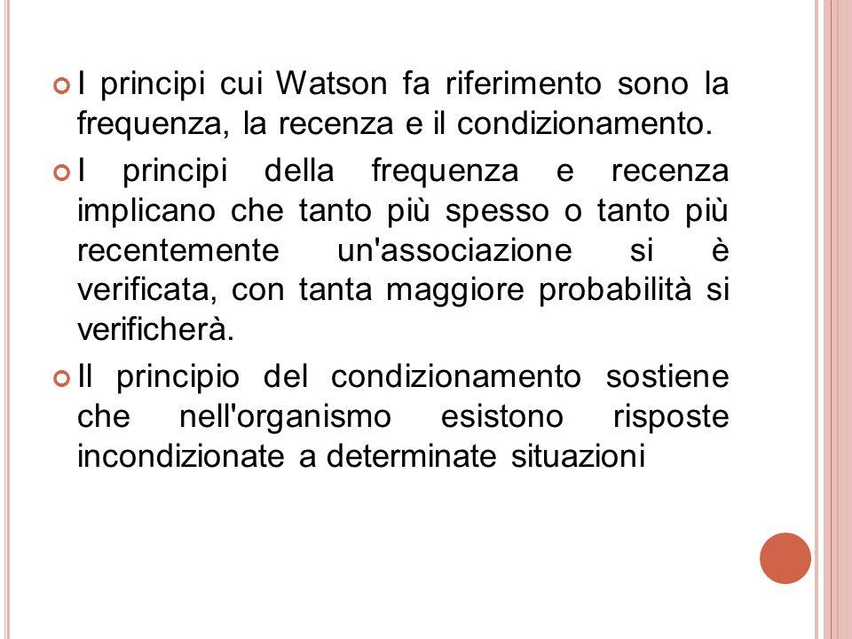 I principi cui Watson fa riferimento sono la frequenza, la recenza e il condizionamento.