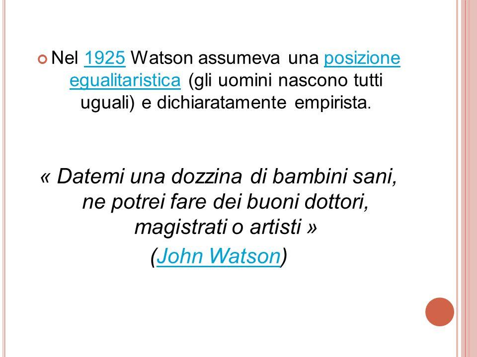 Nel 1925 Watson assumeva una posizione egualitaristica (gli uomini nascono tutti uguali) e dichiaratamente empirista.