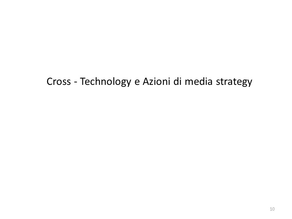Cross - Technology e Azioni di media strategy
