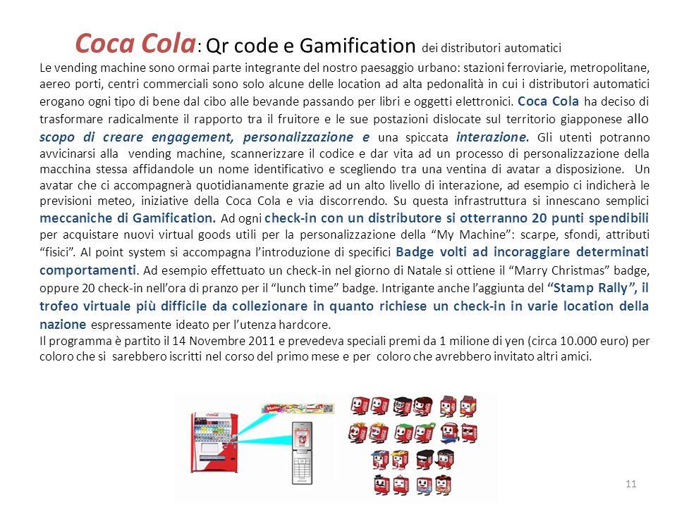 Coca Cola: Qr code e Gamification dei distributori automatici