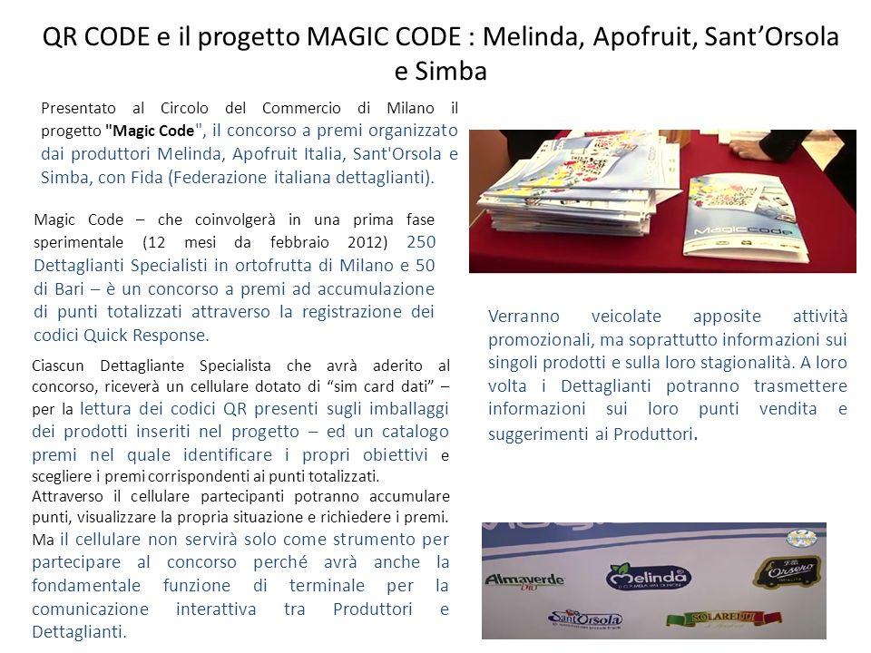 QR CODE e il progetto MAGIC CODE : Melinda, Apofruit, Sant'Orsola e Simba