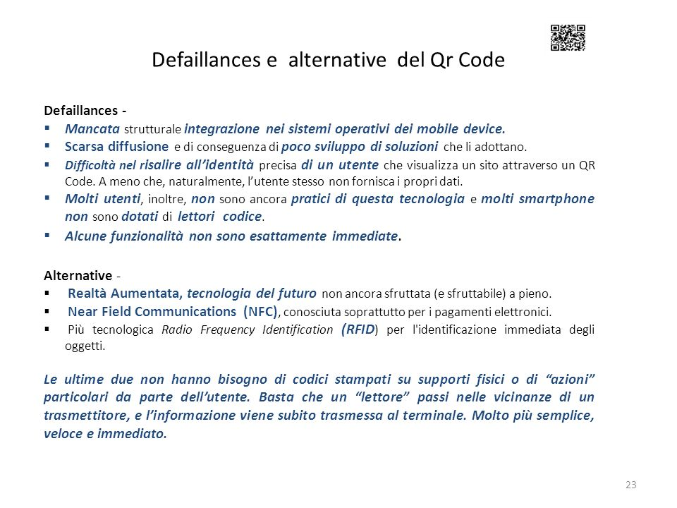 Defaillances e alternative del Qr Code