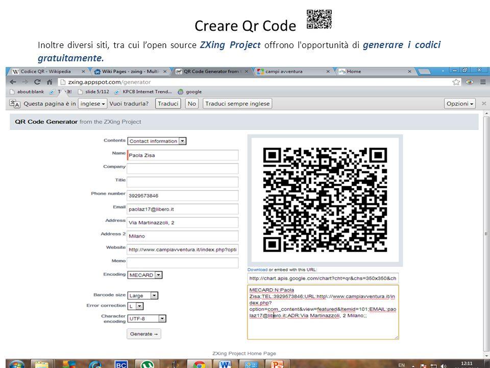 Creare Qr CodeInoltre diversi siti, tra cui l'open source ZXing Project offrono l opportunità di generare i codici gratuitamente.