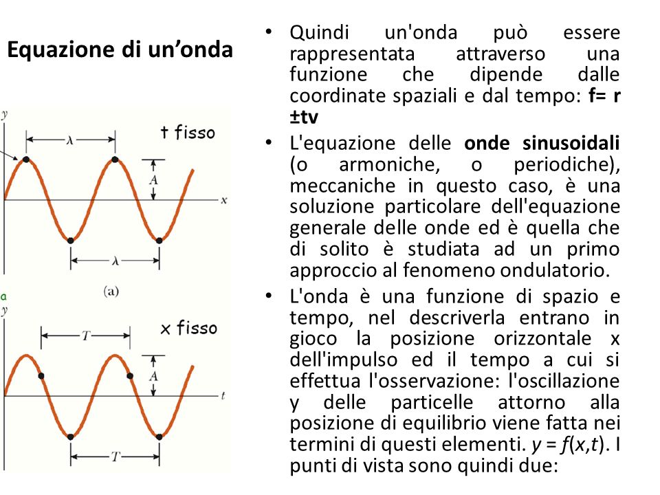 Equazione di un'onda Quindi un onda può essere rappresentata attraverso una funzione che dipende dalle coordinate spaziali e dal tempo: f= r ±tv.