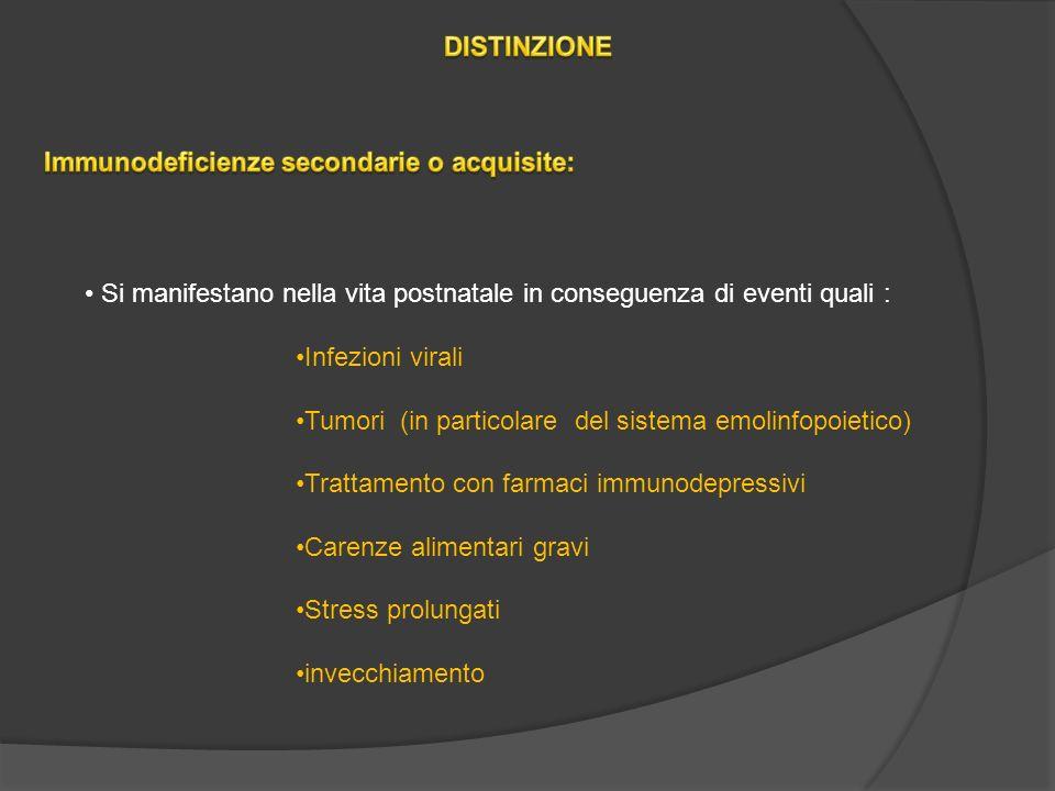 DISTINZIONE Immunodeficienze secondarie o acquisite: Si manifestano nella vita postnatale in conseguenza di eventi quali :