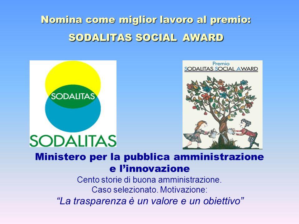 Nomina come miglior lavoro al premio: SODALITAS SOCIAL AWARD