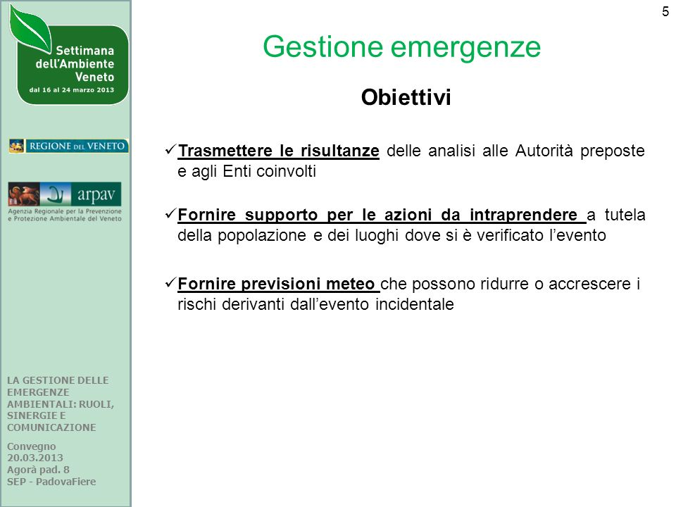 Gestione emergenze Obiettivi
