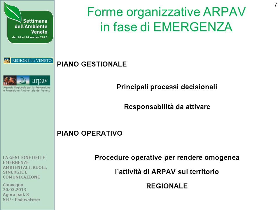 Forme organizzative ARPAV in fase di EMERGENZA