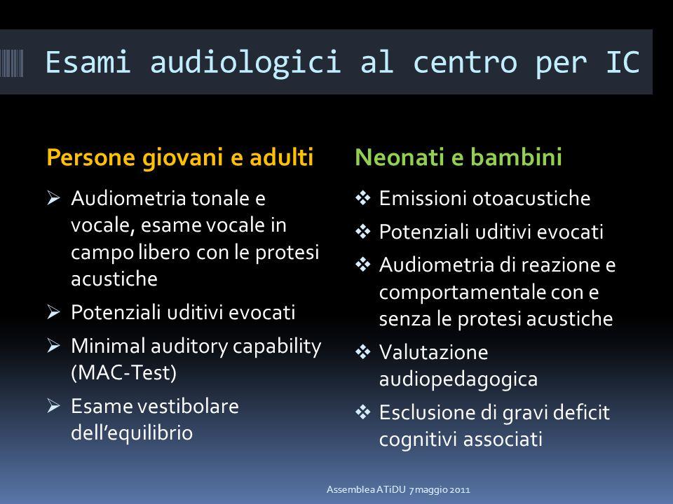 Esami audiologici al centro per IC