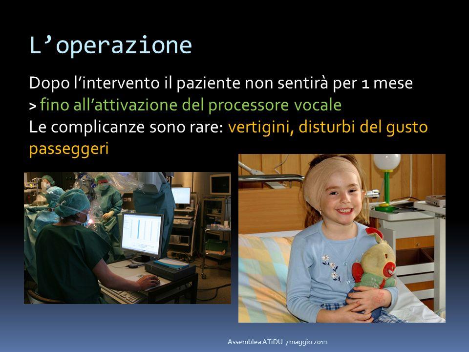 L'operazione Dopo l'intervento il paziente non sentirà per 1 mese > fino all'attivazione del processore vocale.