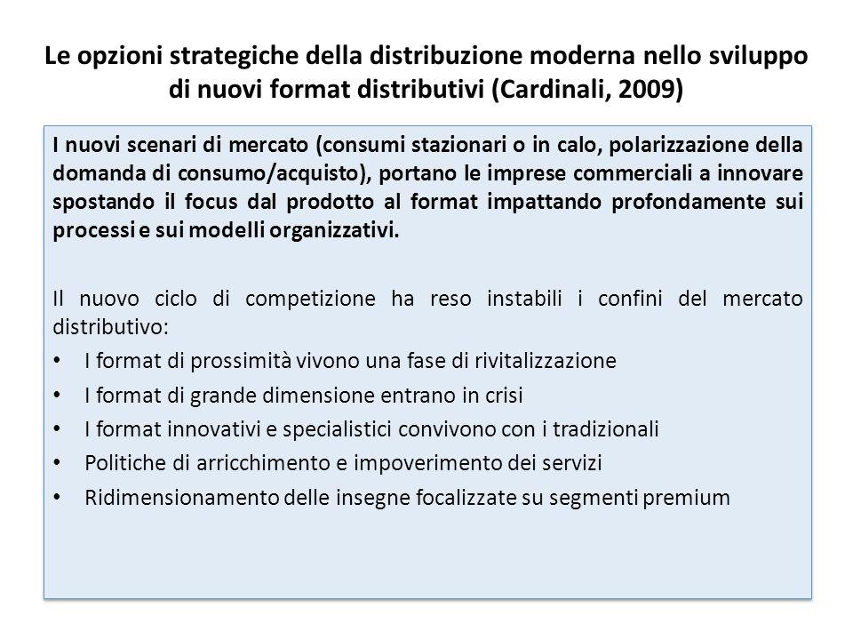 Le opzioni strategiche della distribuzione moderna nello sviluppo di nuovi format distributivi (Cardinali, 2009)