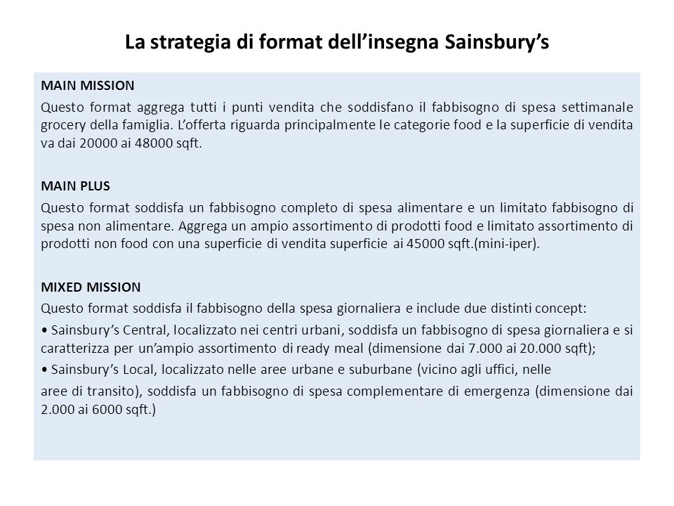La strategia di format dell'insegna Sainsbury's