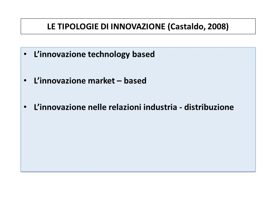 LE TIPOLOGIE DI INNOVAZIONE (Castaldo, 2008)