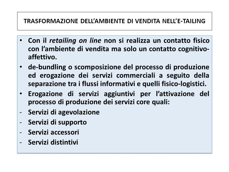 TRASFORMAZIONE DELL'AMBIENTE DI VENDITA NELL'E-TAILING