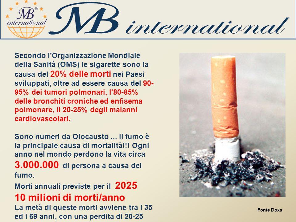Secondo l Organizzazione Mondiale della Sanità (OMS) le sigarette sono la causa del 20% delle morti nei Paesi sviluppati, oltre ad essere causa del 90-95% dei tumori polmonari, l 80-85% delle bronchiti croniche ed enfisema polmonare, il 20-25% degli malanni cardiovascolari.