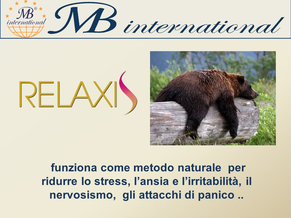 funziona come metodo naturale per ridurre lo stress, l'ansia e l'irritabilità, il nervosismo, gli attacchi di panico ..