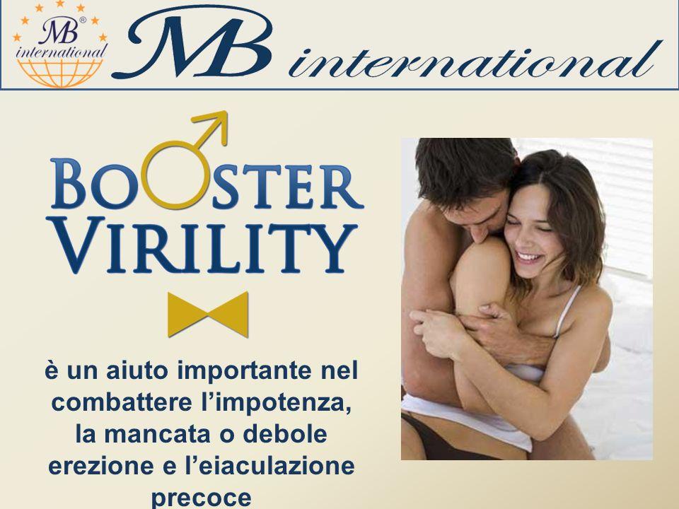 è un aiuto importante nel combattere l'impotenza, la mancata o debole erezione e l'eiaculazione precoce